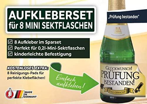 """8 x /""""Prüfung bestanden/"""" Aufkleber im Aufkleberset für Mini-Sektflasche"""