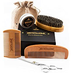 Beard Grooming Kit for Men Care, Beard Brush, WONTECHMI Beard Comb, Beard Boar Bristle Brush, Mustache and Beard Balm Butter Wax, Barber Scissors for Styling, Shaping and Growth, Father's Day gift