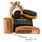 Beard Grooming Kit for Men Care, Beard Brush, WONTECHMI Beard Comb, Beard Boar Bristle Brush, Mustache and Beard Balm Butter Wax, Barber Scissors for Styling, Shaping and Growth, Father's Day gift