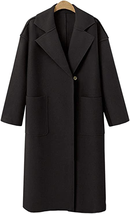 1940s Style Coats and Jackets for Sale GGUHHU Womens Premium Notched Collar One Button Straight Fit Long Woolen Coat with Belt $52.88 AT vintagedancer.com