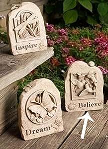 "6.5"" Hummingbird ""Believe"" Outdoor Garden Stone Secret Key Holder"