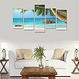 Unique Landscape Art Oil Painting Decoration Tropical Sand Paradise Palms Custom 100% Canvas Material Canvas Print Bedroom Wall Art Living Room Mural Decoration 5 Piece Canvas painting (No Frame)