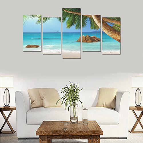 Unique Landscape Art Oil Painting Decoration Tropical Sand Paradise Palms Custom 100% Canvas Material Canvas Print Bedroom Wall Art Living Room Mural Decoration 5 Piece Canvas painting (No Frame) by sentufuzhuang Canvas Printing