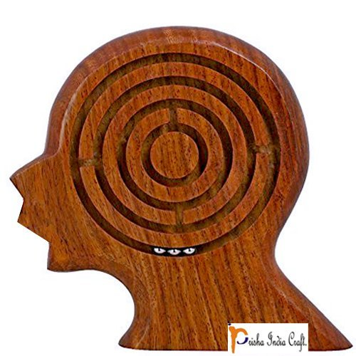 Prisha India Craft Handmade Wooden Brain Maze Puzzle for Kids - Children's Labyrinth Game 5.5 Inches - Unique Gifts for Kids - CHRISTMAS GIFT ITEM