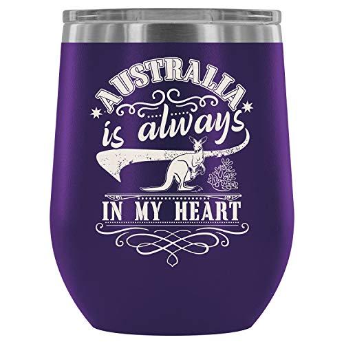 Steel Stemless Wine Glass Tumbler, I Am An Australian Wine Tumbler, Australia Is Always In My Heart Vacuum Insulated Wine Tumbler (Wine Tumbler 12Oz - Purple) ()