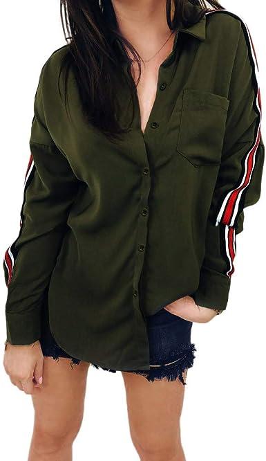 Zotom - Camisa de manga larga con cuello de rayas y botones para mujer Verde militar. XL: Amazon.es: Ropa y accesorios