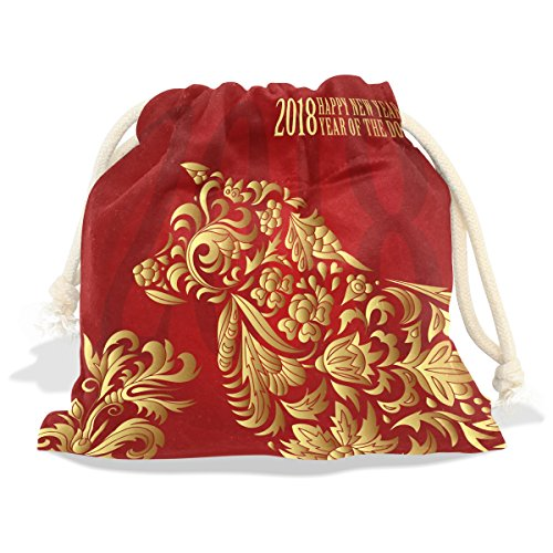 Happy Chinese New Year 2018 Year Of The Dog Velvet Drawstring Gift Bag Wrap Present Pouch Favor for Party Game Wedding, Multiple Sizes Available (Dog Stamp Zodiac)