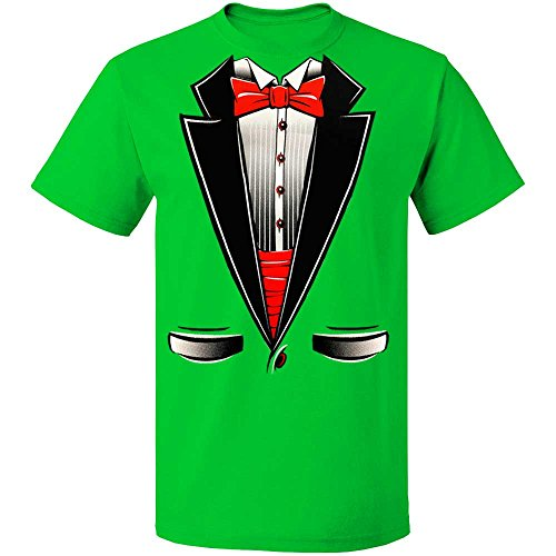 fresh tees Brand- Tuxedo with Bowtie T-Shirt Funny Shirts (Large, Green)