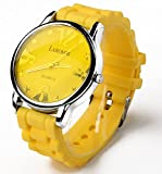 Silicone Circular Business Casual Fashion [Scratch Resistant] Sport Wrist Watch. [Water Resistant] [Stainless Steel] Cover Material. Great for Men, Women, Ladies, Girls, Kids & Giving Gifts- (Yellow)