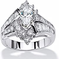 khamchanot Womens Fashion Jewelry 925 Silver Marquise Cut White Sapphire Engagement Ring (9)