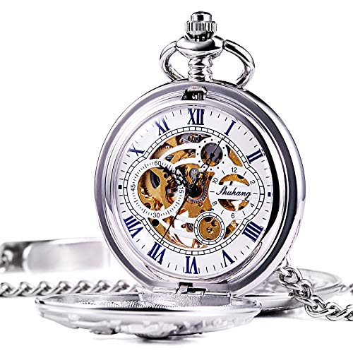 TREEWETO Mechanical Pocket Watch - Dream Dragon Skeleton Half Hunter Double Open Silver Case by TREEWETO
