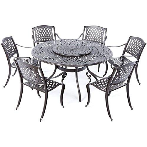 Alfresco Home Tabletop - Alfresco Home 56-1302 Westbury Cast Aluminum 6 Seats Dining Set with Lazy Susan