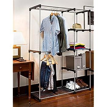 Deluxe Double Rod Closet Organizer Freestanding Wardrobe Rack - Silver