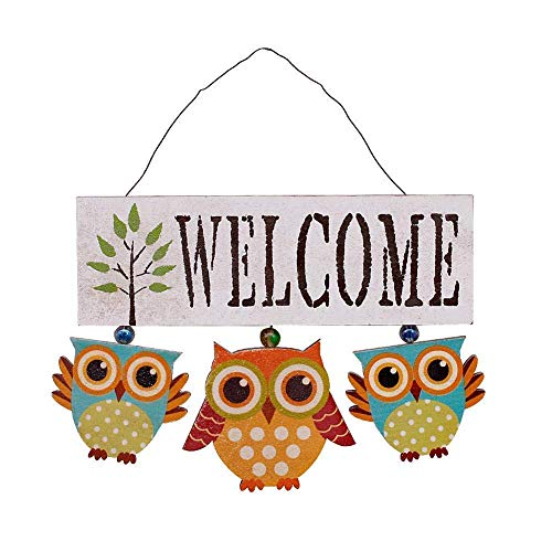 Rainbow Handcrafts Hand Painted Primitive Country Wood Hanging Owl Welcome Sign,Owls Wall Art Hanging Decoration(White) ()