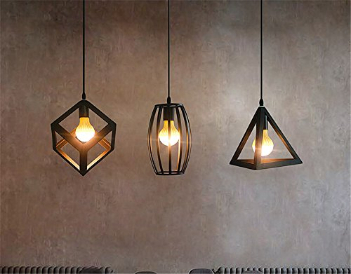 Baron W.H Modern Simple Creative Personality Lighting Industrial Wind Chandelier Iron Living Room Lights bar Counter lamp Single Head Restaurant Chandeliers, Black, 23x20cm