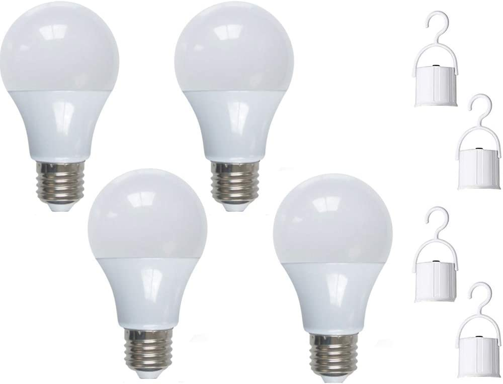 JKLcom Emergency LED Light Bulb 9W Rechargeable Emergency Light Bulb Portable Emergency Lamp Rechargeable Bulb for Hurricane Power Outage Home Camping,with Hook Switch,A19 Shape,4Pack