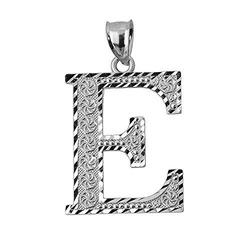 14 Carat Initiale E Or Blanc- Pendentif