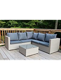 oliver smith large 4 pc modern beige rattan wiker sectional sofa set outdoor patio furniture