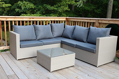 Oliver Smith - Large 4 Pc Modern Beige Rattan Wiker Sectional Sofa Set Outdoor Patio Furniture - Fully Assembled - Aluminum Frame with Ottoman - Light Charcoal