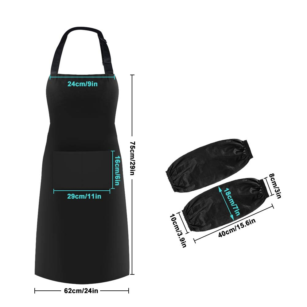 baotongle 2 pcs Unisex Adjustable Bib Apron Waterproof Kitchen Aprons with 1 Pair Sleeves for Home Kitchen,Restaurant,Gardening