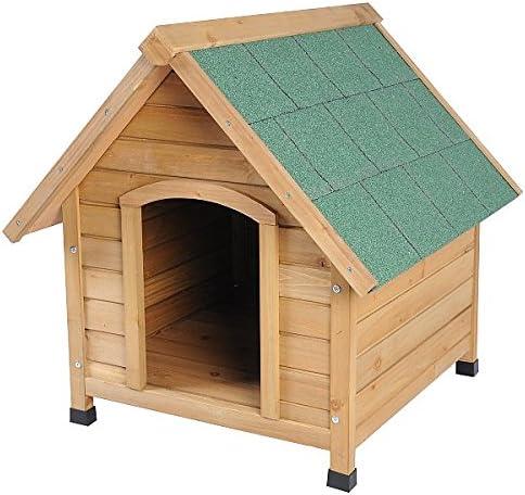 EUGAD Caseta de Madera Maciza para Perros Casa para Perro Animal Pequeño Casetas de Perros para Jardín Impermeable 76x76x72 cm 0037HT: Amazon.es: Productos para mascotas