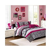Girls Pink Animal Print Comforter Bedding Set with Shams and a Decorative Pillows Includes Scented Candle Tart (Full/queen)