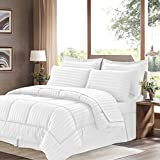 Sweet Home Collection 8 Piece Bed In A Bag with Dobby Stripe Comforter, Sheet Set, Bed Skirt, and Sham Set - King - White