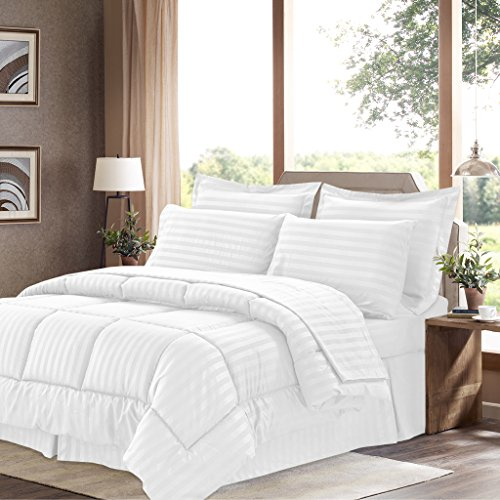 Sweet Home Collection 8 Piece Bed In A Bag with Dobby Stripe Comforter, Sheet Set, Bed Skirt, and Sham Set - Queen - White (Sham Double Queen)