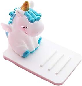 ZOEAST(TM) Unicorn Phone Holder Adjustable Stand Lovely Desktop Cell Phone Stand, Creative Cartoon Multi-Function Desk Phone Stand, Smartphone Dock (Unicorn Blue)