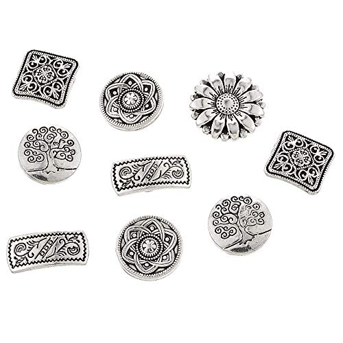 Souarts Pack of 50pcs Mixed Antique Silver Color Flower Metal Buttons