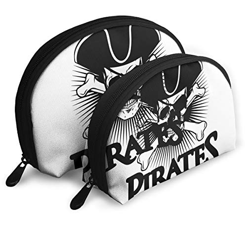 Pirate Skull With Mustache Travel Cosmetic Storage Bags Assorted Portable Clutch Pouch Gift 2Pcs]()