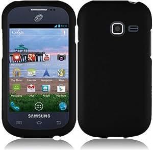 Samsung S738c S738 c Galaxy Centura Straight Talk BLACK HARD RUBBERIZED CASE SKIN COVER PROTECTOR