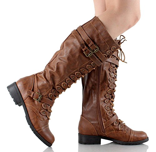 Timberly Up Knee Wild Pu Diva Cognac Lace Boots 65 p1gxq5