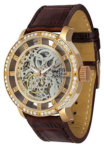 Moog Paris Chameleon Unisex Automatic Watch with Skeleton Dial, Black Beige Dark Brown Brown Pink Blue White Genuine Strap Swarovski Elements