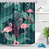 Pink Flamingo Shower Curtain Hooks LB Tropical Plant Shower Curtain Pink Flamingos with Palm Leaves Fruit Floral Creative Flamingo Shower Curtain Set with 12 Hooks,Waterproof Fabric 72x72 Inch