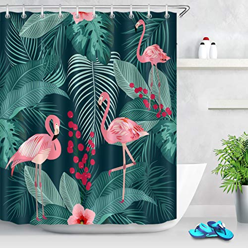 LB Tropical Plant Shower Curtain Pink Flamingos with Palm Leaves Fruit Floral Creative Flamingo Shower Curtain Set with 12 Hooks,Waterproof Fabric 78x72 Inch