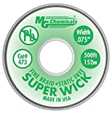 MG Chemicals Desoldering Braid #3 Fine Braid Super Wick with RMA Flux, 500' Length x 0.075'' Width, Green