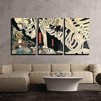 3 Piece Canvas Wall Art - Utagawa Kuniyoshi - Takiyasha The Witch and The Skeleton Spectre - Ukiyo-E - Modern Home Art Stretched and Framed Ready to Hang - 24