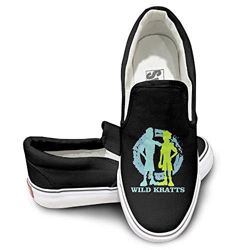 [Harriy Wild Kratte Unisex Oxford Flat Canvas Sneaker Shoes 36 Black] (Wild Kratts Costume Amazon)