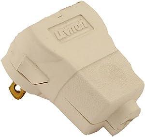 Leviton 101AN-W 15 Amp, 125 Volt 2-Pole 2-Wire, Non-Polarized Angle Plug, White