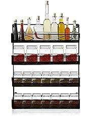 Oakome Spice Rack - Porte-épices Mural Étagère à Épices 4 Niveaux Rangement de Cuisine en Acier Grande Capacité pour des épices, Condiments, Nourriture en Boîte