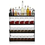 Oakome Large Spice Rack Organiser-Cupboard Door or Wall Mounted, 4 Tiers Kitchen Hanging Cabinet Organizer Rack, Large Capacity Steel Frame for Spices, Condiments, Canned Food