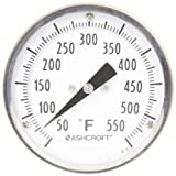 Ashcroft EI Series Bimetal Thermometer, 3'' Dial Size, 1/2'' NPT Rear Stem Connection, 4'' Stem Length, 50°F-550°F Temperature Range