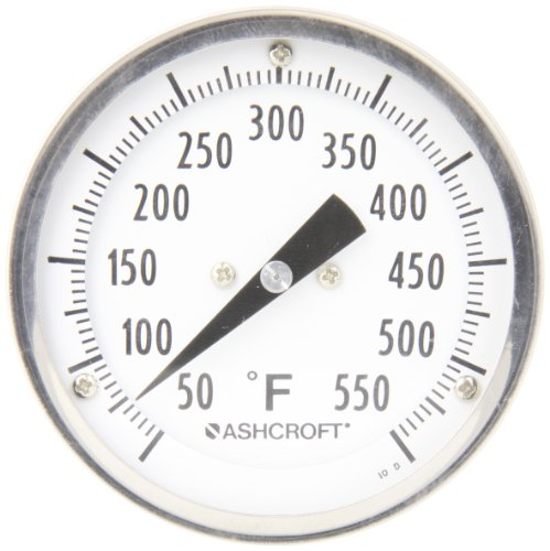 Ashcroft EI Series Bimetal Thermometer, 3'' Dial Size, 1/2'' NPT Rear Stem Connection, 4'' Stem Length, 50°F-550°F Temperature Range by Ashcroft