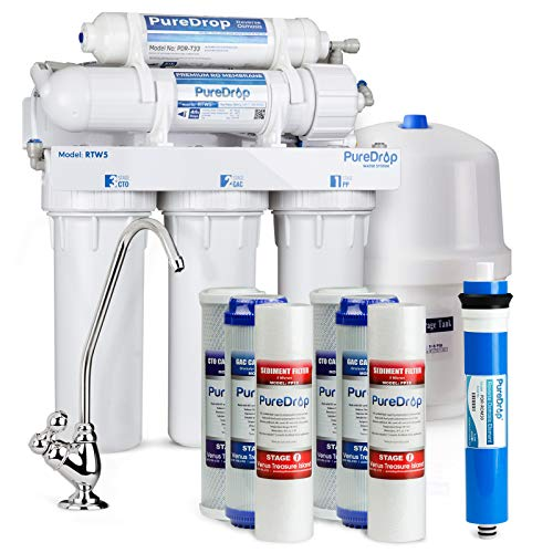 PureDrop RTW5 Under Under Sink 5 Stage Reverse Osmosis Drinking Water Filtration System with Extra Pre-Filter Set