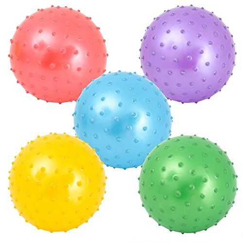 5 Pack Inflated Spiky Balls - Squish, Squash and Bounce Press Sensory Fidget Toys and Stress Relief Balls - For Kids and Adults - by Neliblu