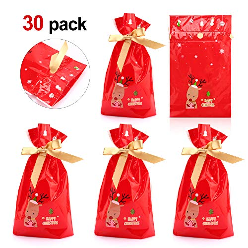 Konsait Christmas Drawstring Candy Bag Gift Treat Cookie Pouch Goody Bags Xmas Accessories Santa Sack for Christmas Party Bag Fillers Party Decoration Christmas Favor Supplies Bags (30pack)