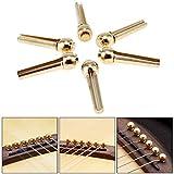 OriGlam 6pcs Guitar Bridge Pins, Copper Brass Pins, String Nail Pegs for Folk Acoustic Guitar Replacement Parts