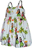 Pacific Legend Girls Hula Girl Dance Toddler Bungee Dress White 3-4 for 2yrs old
