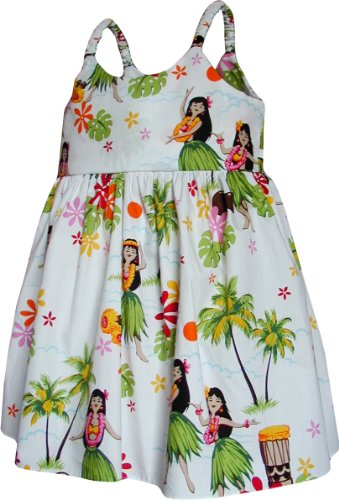 Pacific Legend Girls Hula Girl Dance Toddler Bungee Dress White 5-6 for 3yrs old